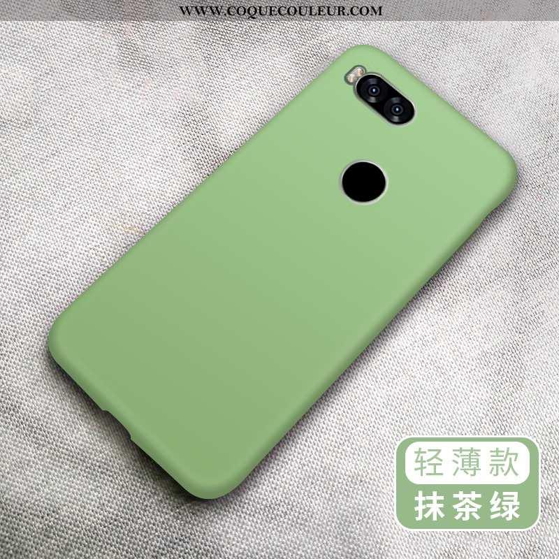 Étui Xiaomi Mi A1 Fluide Doux Couleur Unie Étui, Coque Xiaomi Mi A1 Silicone Amoureux Verte