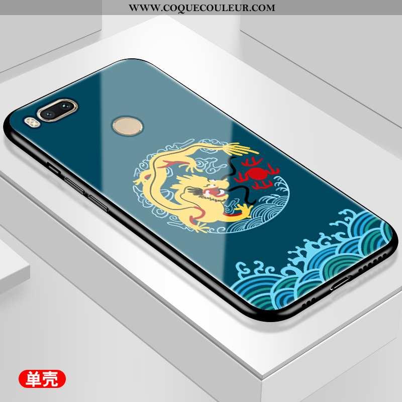 Coque Xiaomi Mi A1 Personnalité Bleu Téléphone Portable, Housse Xiaomi Mi A1 Verre Style Chinois
