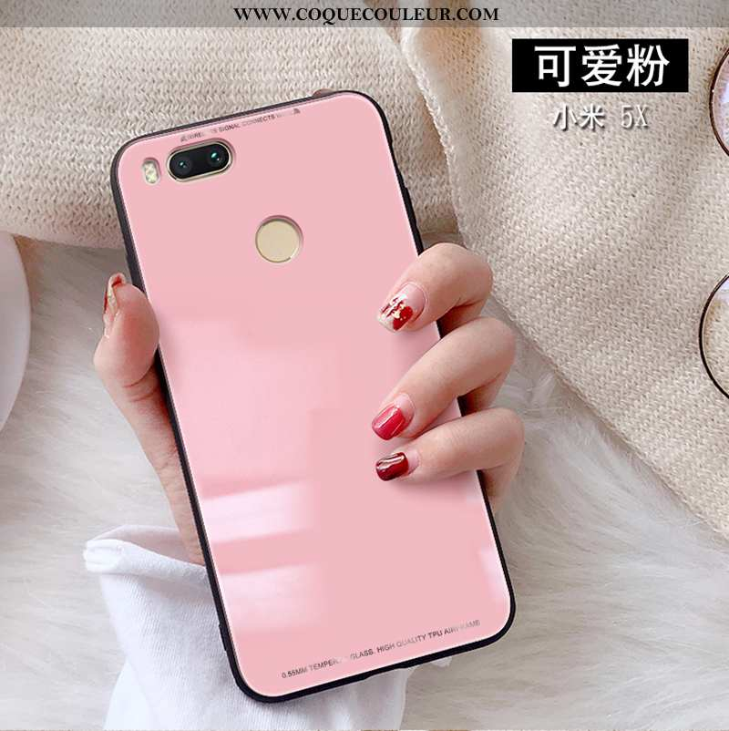 Housse Xiaomi Mi A1 Protection Rose Tendance, Étui Xiaomi Mi A1 Verre Petit