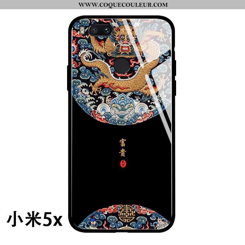 Étui Xiaomi Mi A1 Verre Téléphone Portable Coque, Coque Xiaomi Mi A1 Personnalité Dragon Noir