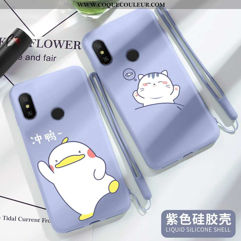 Housse Xiaomi Mi A2 Lite Tendance Coque Dessin Animé, Étui Xiaomi Mi A2 Lite Fluide Doux Petit Bleu