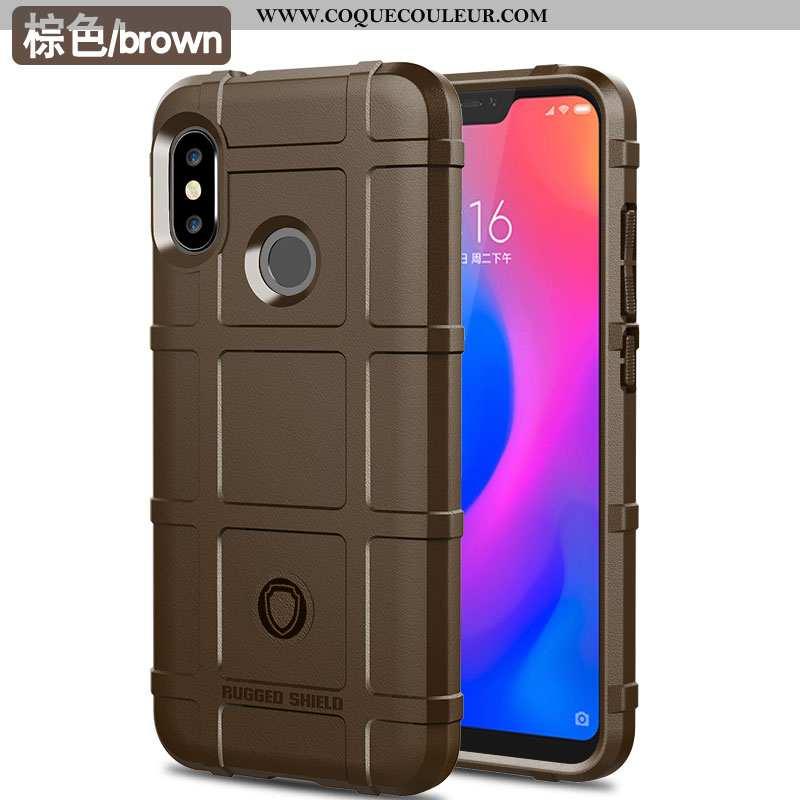Housse Xiaomi Mi A2 Lite Protection Tendance Petit, Étui Xiaomi Mi A2 Lite Luxe Créatif Marron