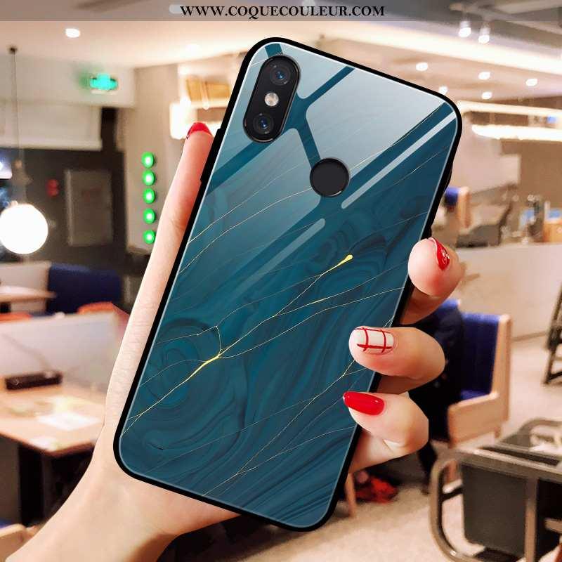 Coque Xiaomi Mi A2 Modèle Fleurie Simple Petit, Housse Xiaomi Mi A2 Verre Incassable Bleu