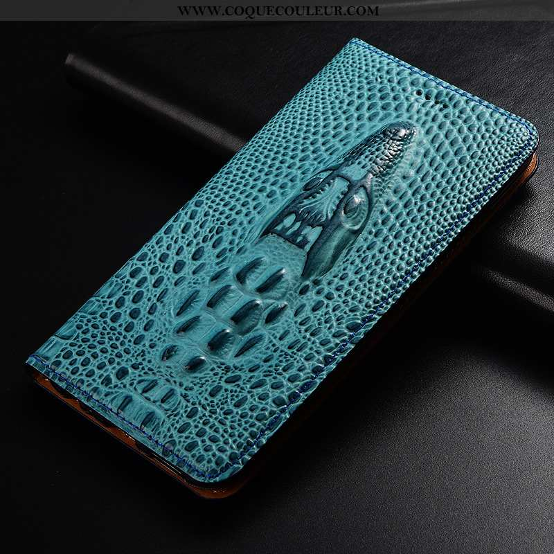 Housse Xiaomi Mi A2 Cuir Véritable Téléphone Portable Coque, Étui Xiaomi Mi A2 Cuir Protection Bleu