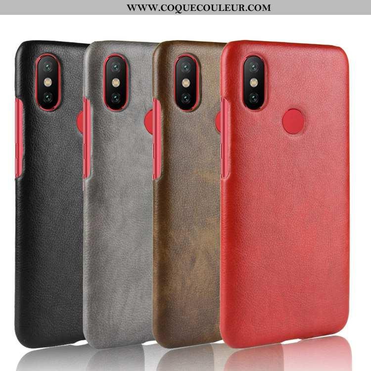 Housse Xiaomi Mi A2 Cuir Litchi Petit, Étui Xiaomi Mi A2 Modèle Fleurie Incassable Rouge