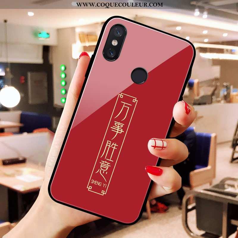 Étui Xiaomi Mi A2 Verre Coque Rouge, Xiaomi Mi A2 De Fête Petit Rouge