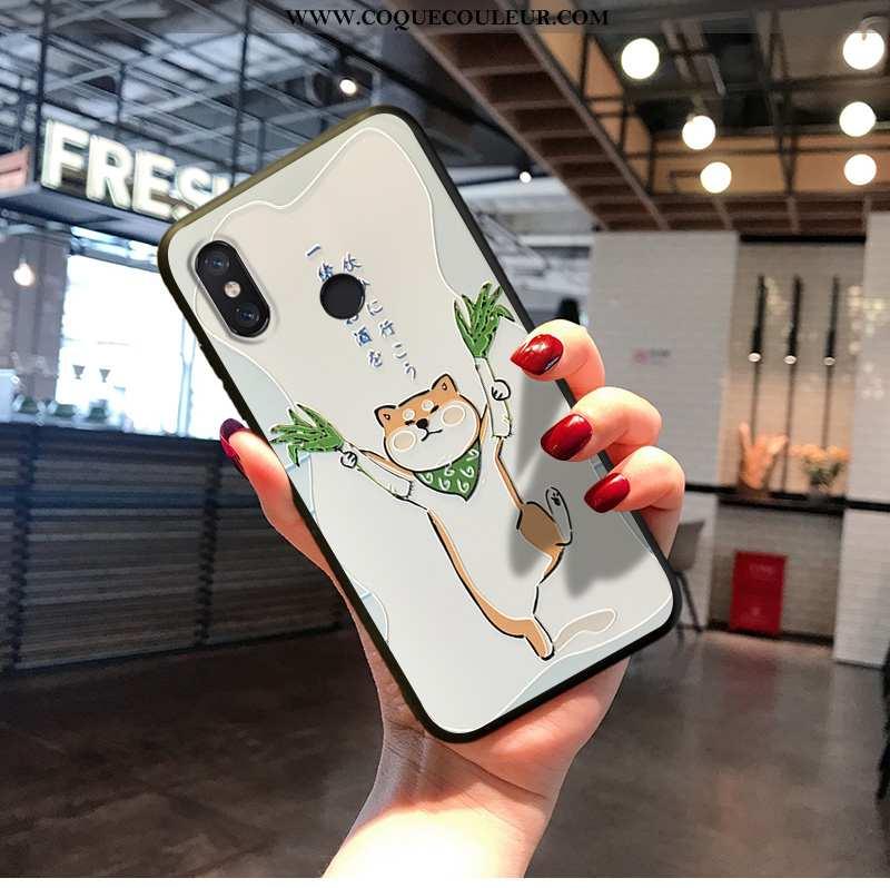 Étui Xiaomi Mi A2 Charmant Dessin Animé Délavé En Daim, Coque Xiaomi Mi A2 Fluide Doux Créatif Blanc