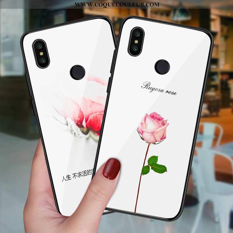 Coque Xiaomi Mi A2 Personnalité Blanc Téléphone Portable, Housse Xiaomi Mi A2 Créatif Verre Blanche