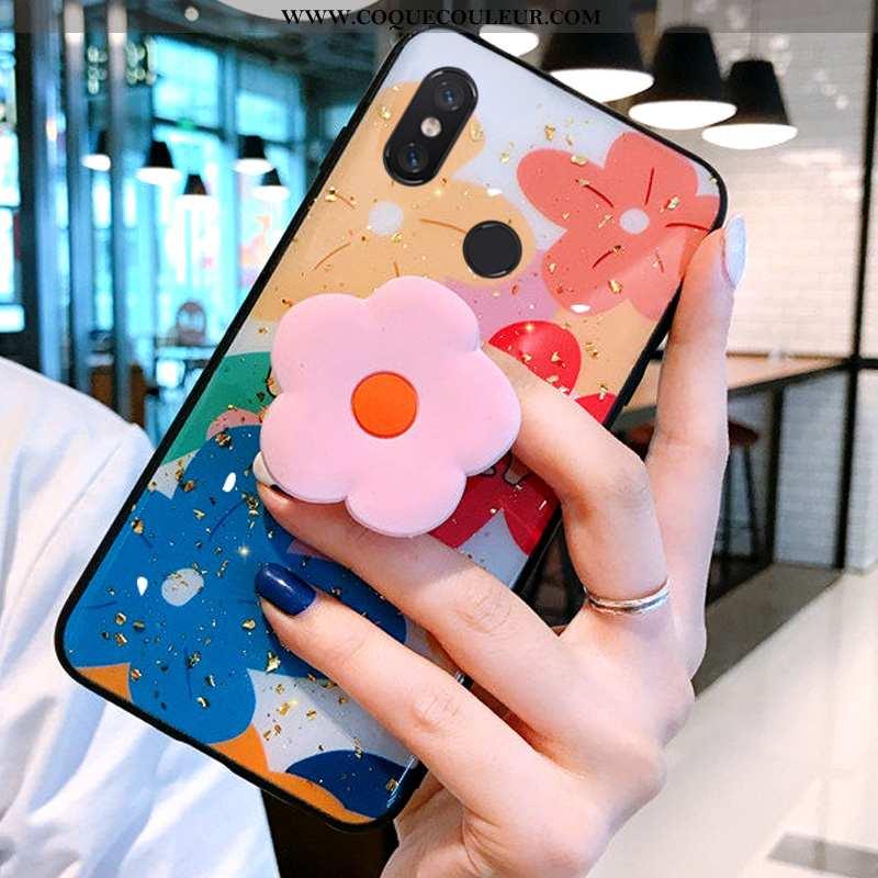 Étui Xiaomi Mi A2 Silicone Tout Compris Coque, Coque Xiaomi Mi A2 Protection Modèle Fleurie Bleu