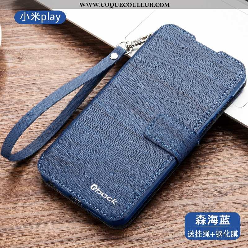 Housse Xiaomi Mi A2 Fluide Doux Cuir Petit, Étui Xiaomi Mi A2 Silicone Protection Bleu