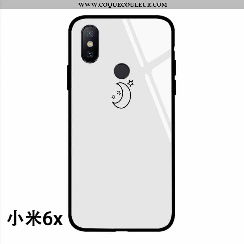 Coque Xiaomi Mi A2 Verre Silicone Téléphone Portable, Housse Xiaomi Mi A2 Ornements Suspendus Blanc