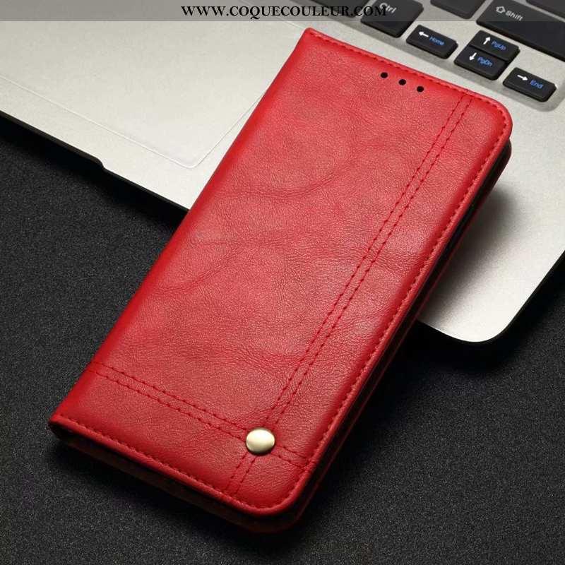 Housse Xiaomi Mi A3 Cuir Étui Business, Xiaomi Mi A3 Protection Petit Rouge