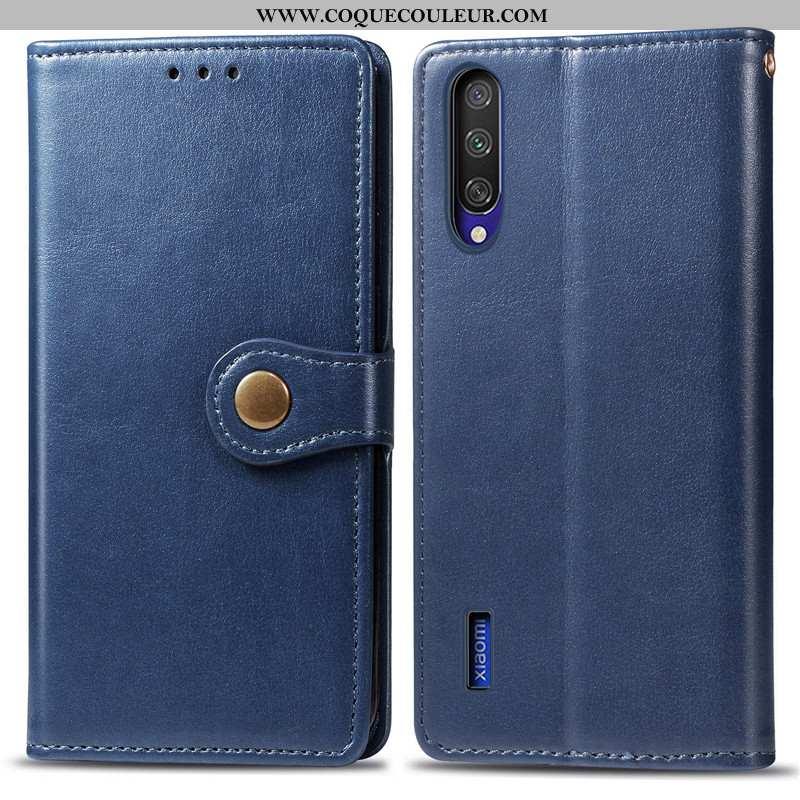 Coque Xiaomi Mi A3 Ornements Suspendus Simple Couleur Unie, Housse Xiaomi Mi A3 Cuir Bleu Marin Bleu