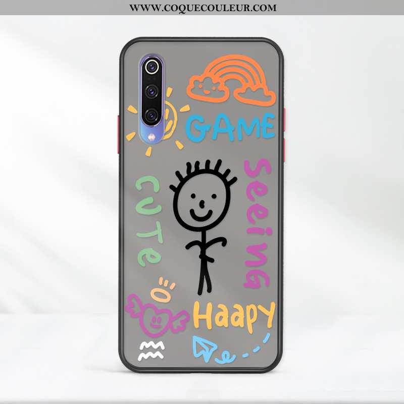 Coque Xiaomi Mi A3 Créatif Délavé En Daim Noir, Housse Xiaomi Mi A3 Charmant Incassable Noir