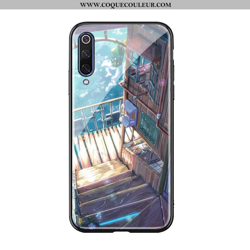 Coque Xiaomi Mi A3 Silicone Tout Compris Téléphone Portable, Housse Xiaomi Mi A3 Verre Bleu
