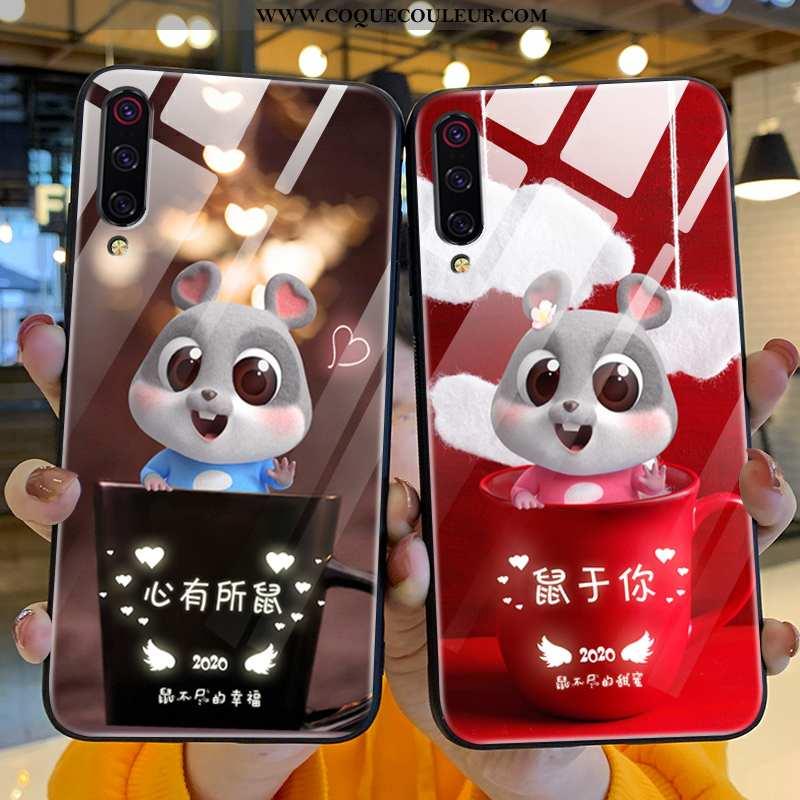 Coque Xiaomi Mi A3 Verre Ultra Rat, Housse Xiaomi Mi A3 Personnalité Difficile Rouge