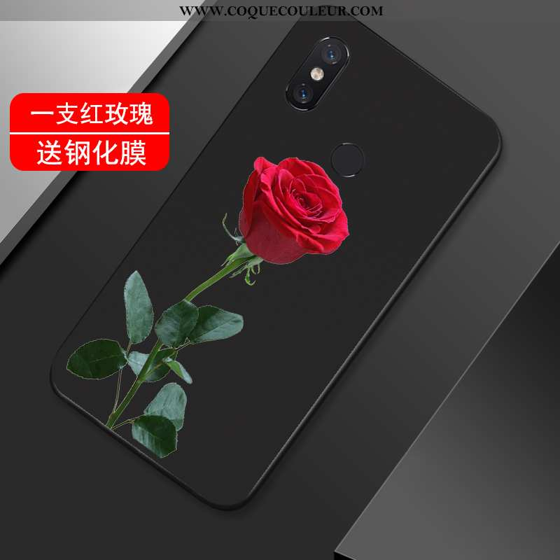 Coque Xiaomi Mi Max 3 Fluide Doux Petit Fleur, Housse Xiaomi Mi Max 3 Silicone Vent Noir