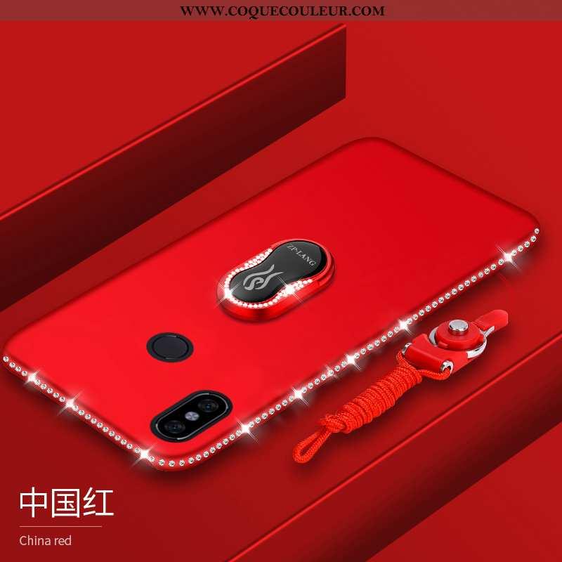 Housse Xiaomi Mi Max 3 Strass Étui Téléphone Portable, Xiaomi Mi Max 3 Délavé En Daim Coque Rouge