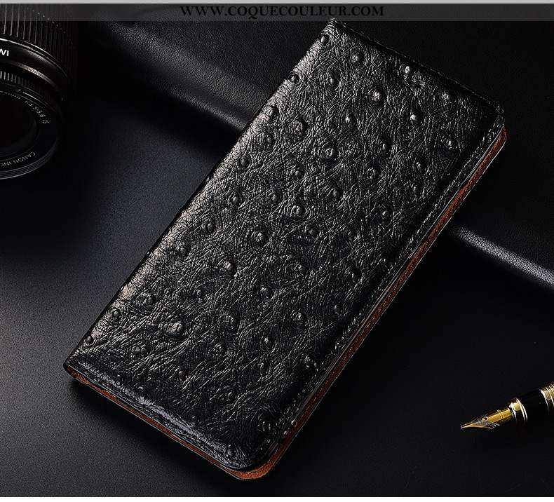 Coque Xiaomi Mi Max 3 Protection Noir Téléphone Portable, Housse Xiaomi Mi Max 3 Cuir Véritable Cuir