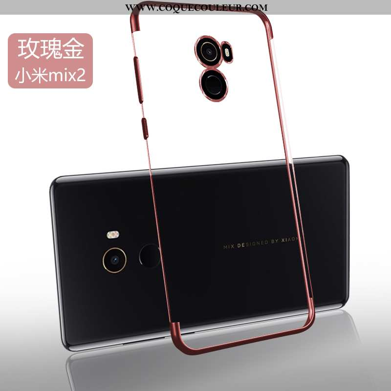 Coque Xiaomi Mi Mix 2 Protection Silicone Coque, Housse Xiaomi Mi Mix 2 Transparent Tendance Doré