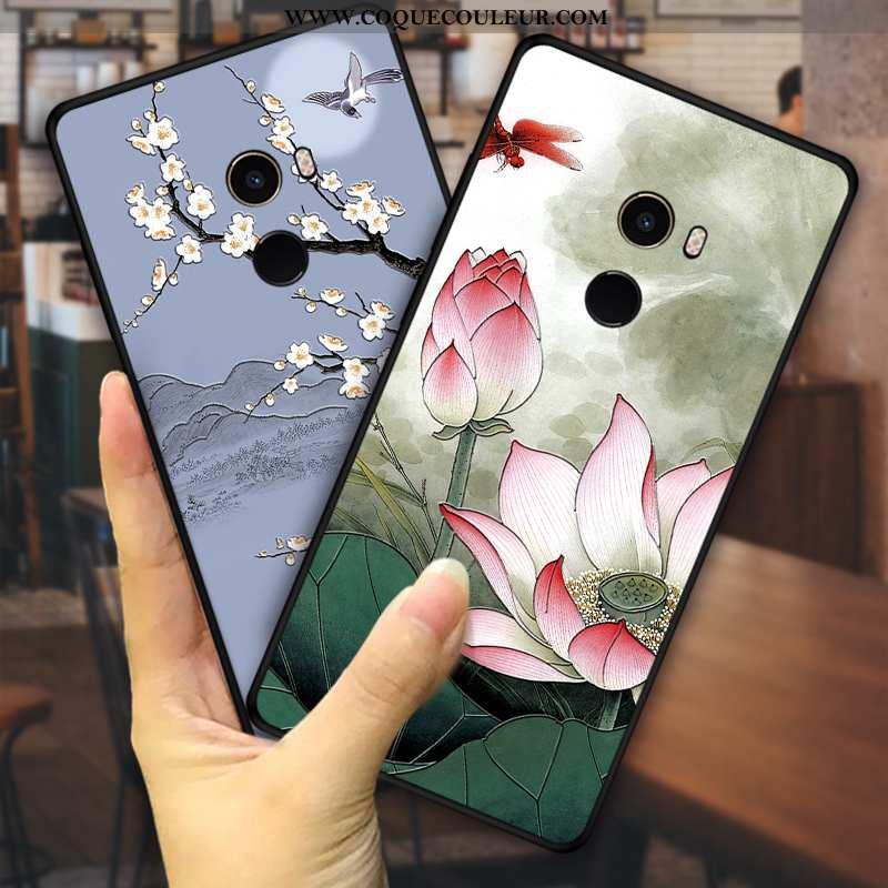 Housse Xiaomi Mi Mix 2 Fleurs Petit Style Chinois, Étui Xiaomi Mi Mix 2 Fluide Doux Vent Verte