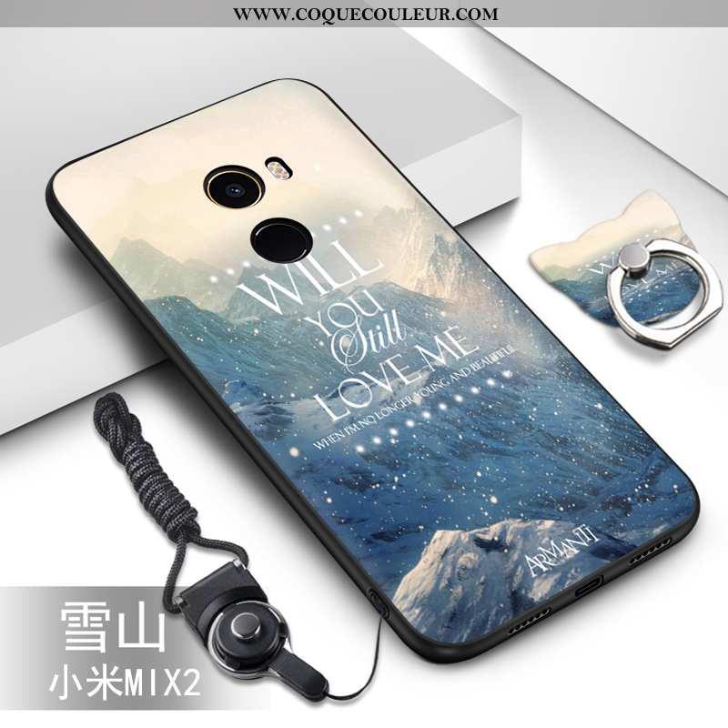 Housse Xiaomi Mi Mix 2 Silicone Fluide Doux Bleu, Étui Xiaomi Mi Mix 2 Protection Peinture Bleu