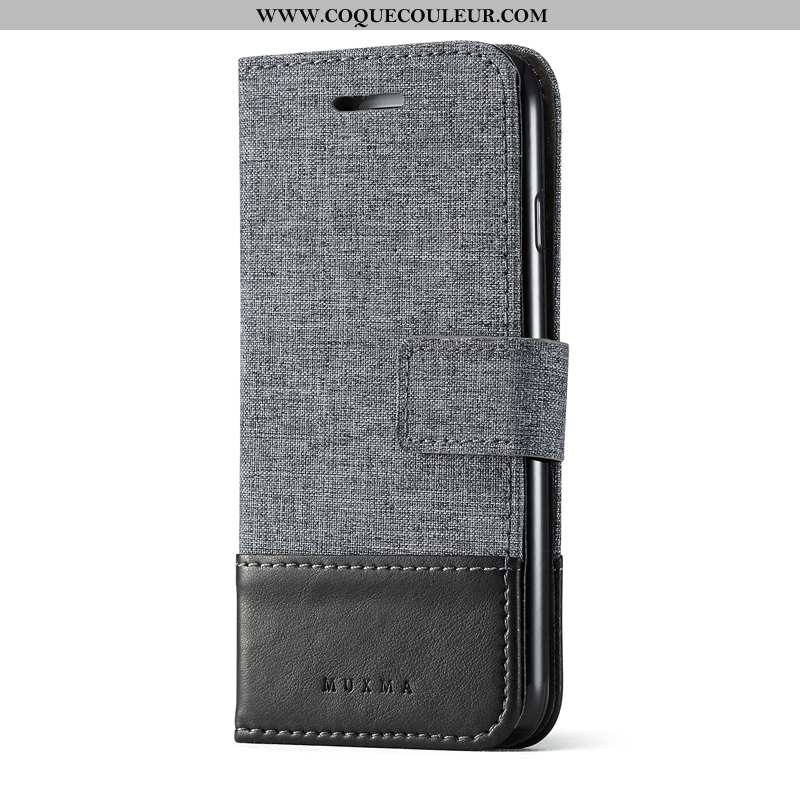 Coque Xiaomi Mi Mix 2 Protection Noir Petit, Housse Xiaomi Mi Mix 2 Cuir Toile