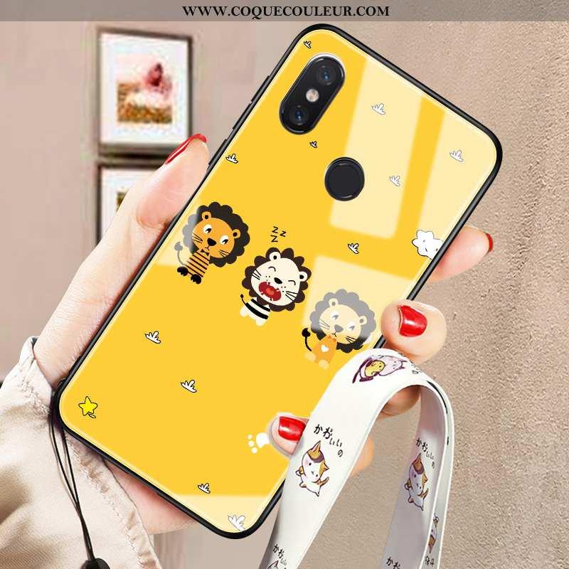 Housse Xiaomi Mi Mix 2s Verre Étui Incassable, Xiaomi Mi Mix 2s Personnalité Téléphone Portable Jaun