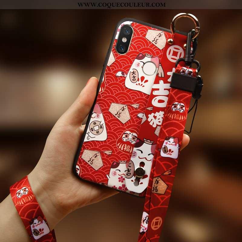 Coque Xiaomi Mi Mix 3 Personnalité Chat Silicone, Housse Xiaomi Mi Mix 3 Créatif Incassable Rouge
