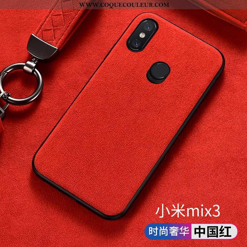 Étui Xiaomi Mi Mix 3 Silicone Tout Compris, Coque Xiaomi Mi Mix 3 Protection Daim Fourrure Rouge