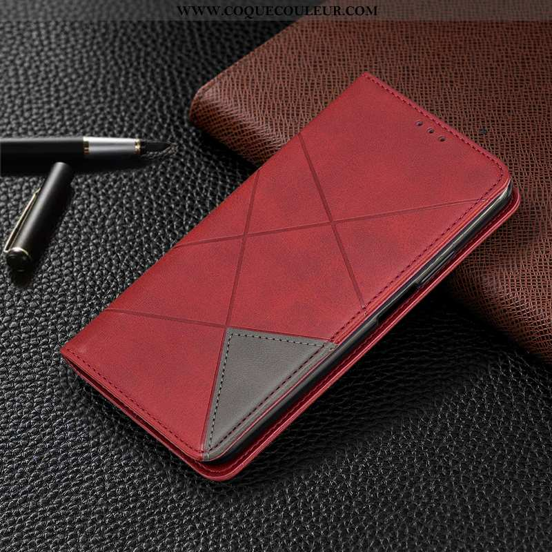 Housse Xiaomi Mi Mix 3 Cuir Rouge Housse, Étui Xiaomi Mi Mix 3 Protection Coque