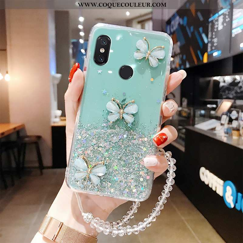 Housse Xiaomi Mi Mix 3 Transparent Petit Papillon, Étui Xiaomi Mi Mix 3 Ultra Protection Verte