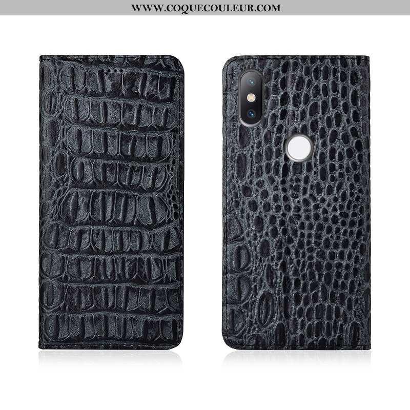 Coque Xiaomi Mi Mix 3 Cuir Véritable Nouveau Téléphone Portable, Housse Xiaomi Mi Mix 3 Cuir Noir