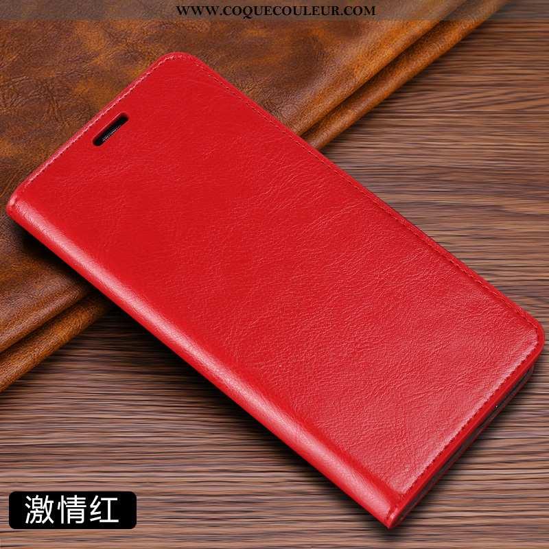 Étui Xiaomi Mi Mix 3 Cuir Coque Rouge, Xiaomi Mi Mix 3 Cuir Véritable Housse Rouge