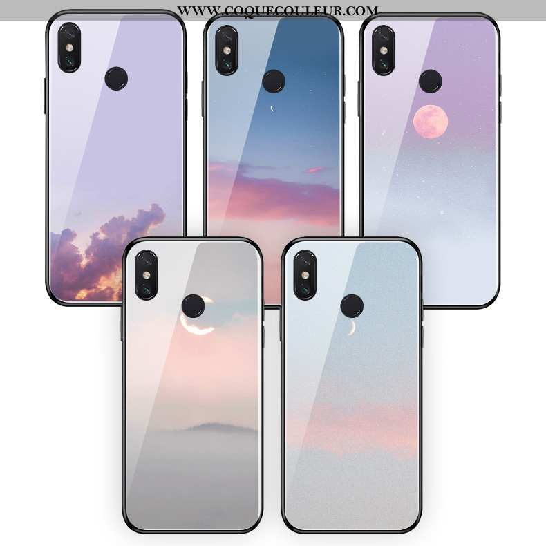 Coque Xiaomi Mi Mix 3 Verre Bordure Soirée, Housse Xiaomi Mi Mix 3 Fluide Doux Clair Violet