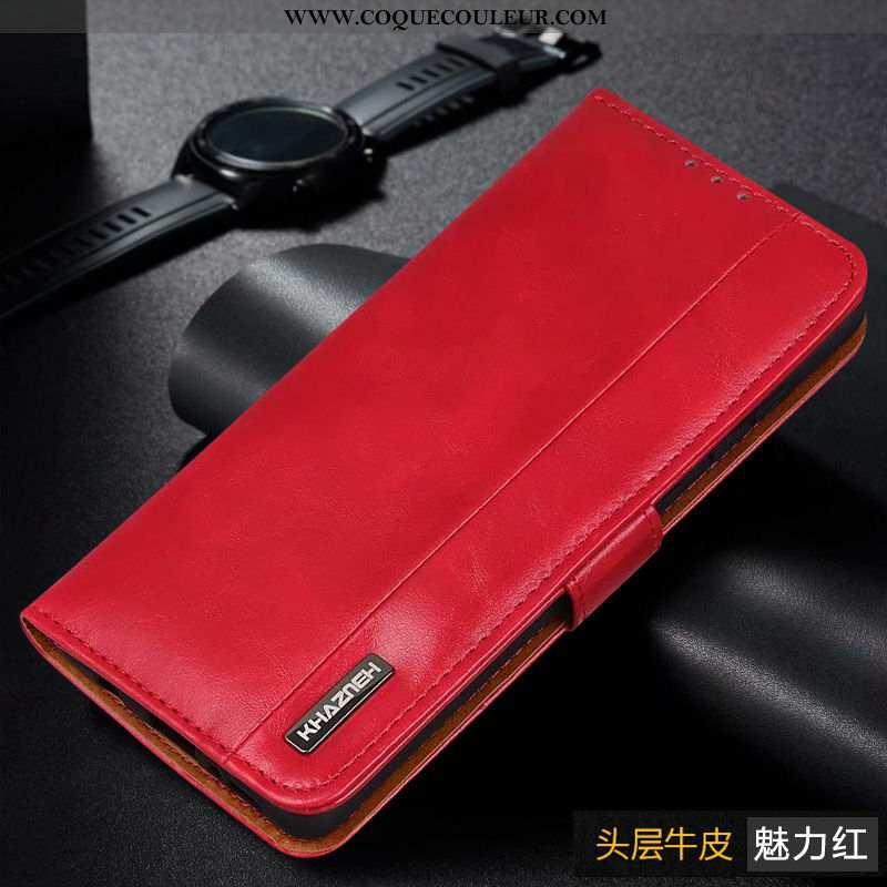 Coque Xiaomi Mi Note 10 Lite Cuir Véritable Coque, Housse Xiaomi Mi Note 10 Lite Protection Étui Rou