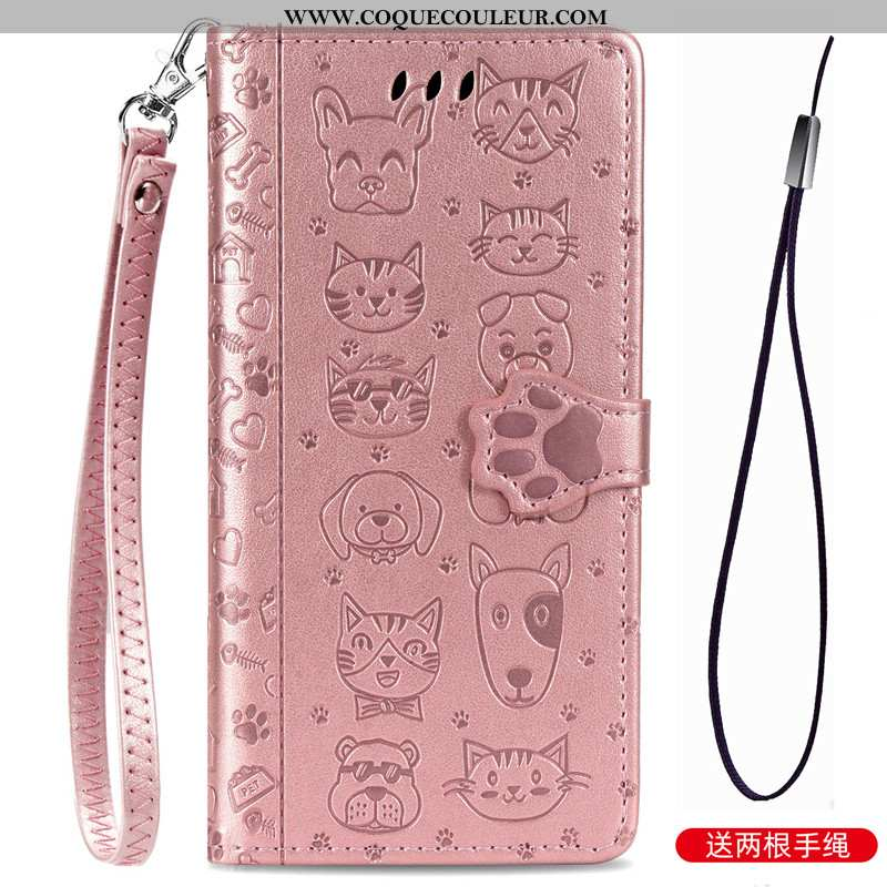 Coque Xiaomi Mi Note 10 Lite Dessin Animé Cuir, Housse Xiaomi Mi Note 10 Lite Charmant Gaufrage Rose