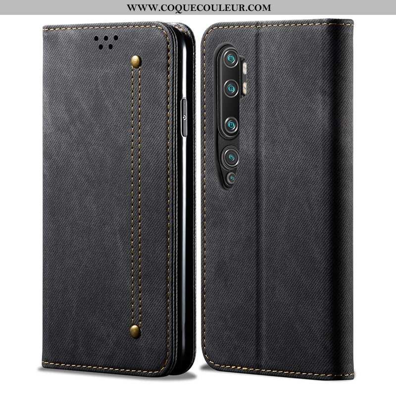 Étui Xiaomi Mi Note 10 Cuir Coque Incassable, Xiaomi Mi Note 10 Protection Tendance Noir