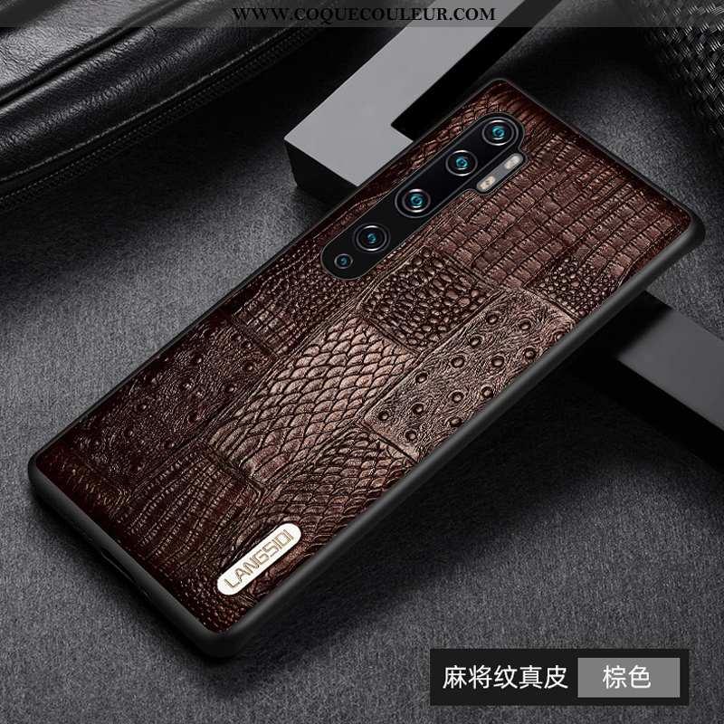 Housse Xiaomi Mi Note 10 Protection Cuir Coque, Étui Xiaomi Mi Note 10 Cuir Véritable Légère Marron