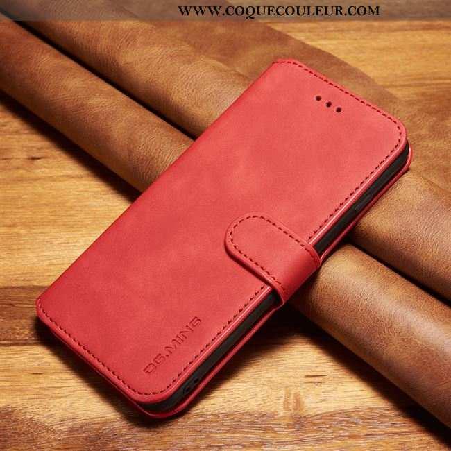 Housse Xiaomi Mi Note 10 Cuir Véritable Petit, Étui Xiaomi Mi Note 10 Cuir Téléphone Portable Rouge