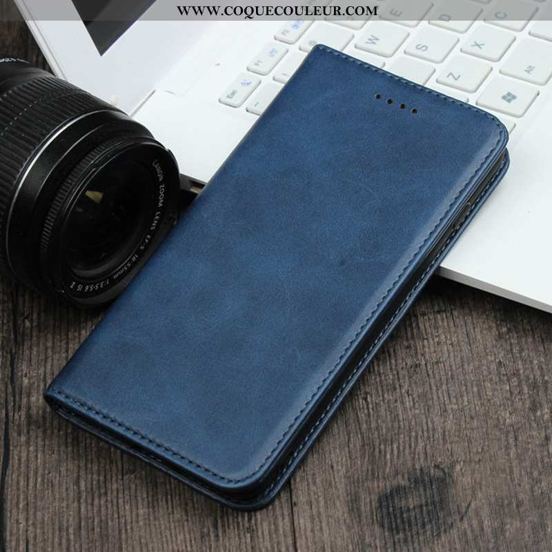 Housse Xiaomi Mi Note 10 Cuir Véritable Étui Business, Xiaomi Mi Note 10 Cuir Bleu Marin Bleu Foncé