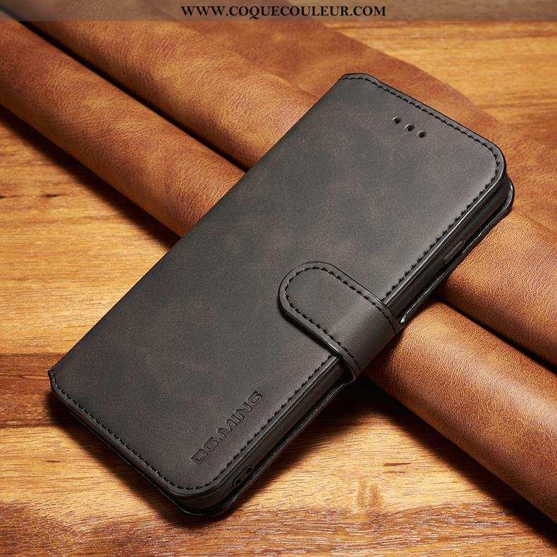 Housse Xiaomi Mi Note 10 Cuir Véritable Petit, Étui Xiaomi Mi Note 10 Cuir Téléphone Portable Noir