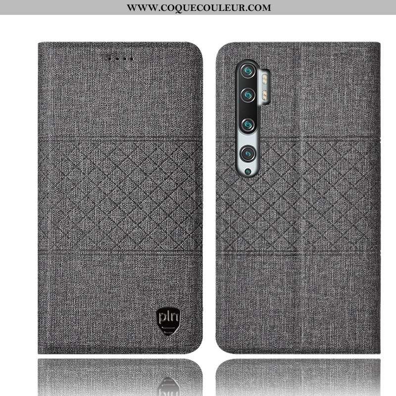 Housse Xiaomi Mi Note 10 Protection Gris Petit, Étui Xiaomi Mi Note 10 Cuir Tout Compris