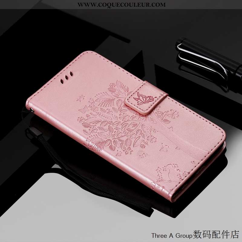 Coque Xiaomi Mi Note 10 Charmant Téléphone Portable, Housse Xiaomi Mi Note 10 Cuir Chat Rose