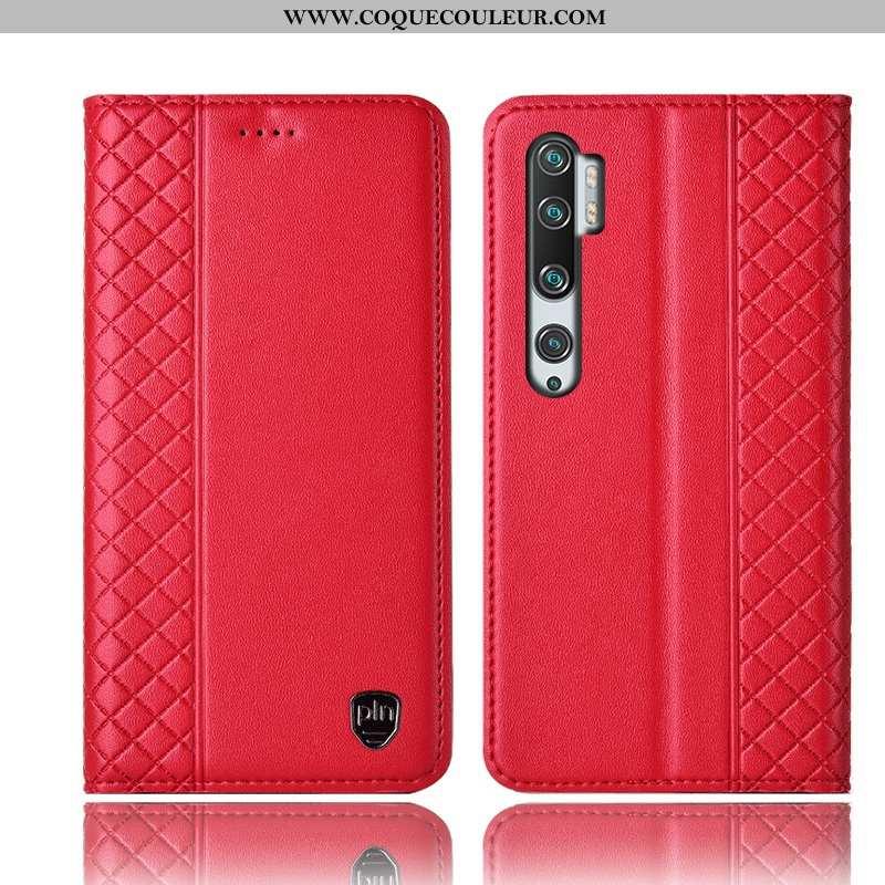 Housse Xiaomi Mi Note 10 Cuir Véritable Tout Compris Rouge, Étui Xiaomi Mi Note 10 Protection Téléph