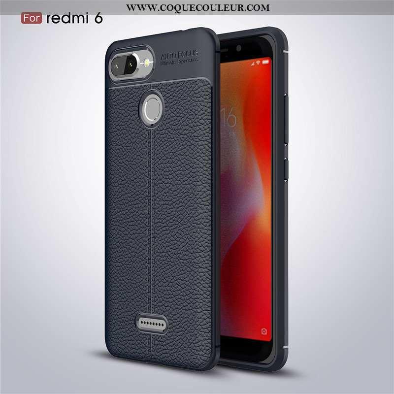 Étui Xiaomi Redmi 6 Cuir Petit Coque, Coque Xiaomi Redmi 6 Modèle Fleurie Business Noir