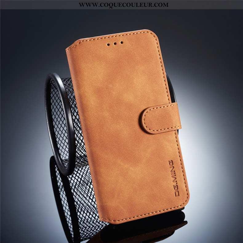 Housse Xiaomi Redmi 6 Cuir Téléphone Portable Clamshell, Étui Xiaomi Redmi 6 Délavé En Daim Rouge Ma