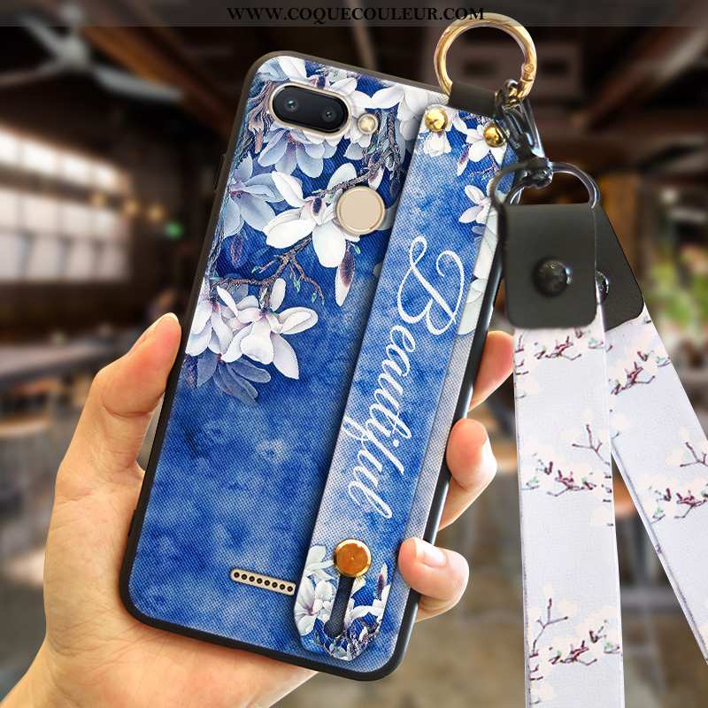 Coque Xiaomi Redmi 6 Personnalité Rouge, Housse Xiaomi Redmi 6 Créatif Téléphone Portable Bleu