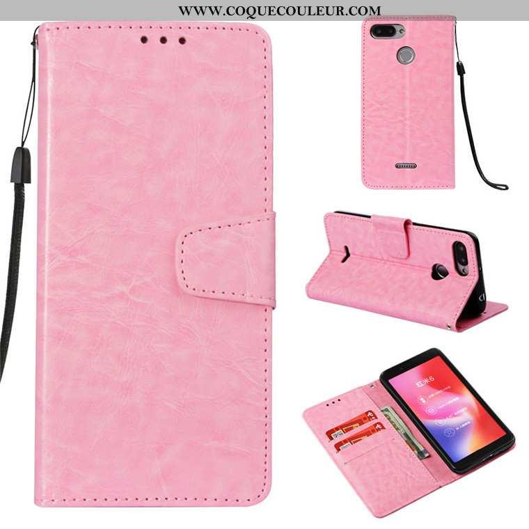 Étui Xiaomi Redmi 6 Cuir Rose Téléphone Portable, Coque Xiaomi Redmi 6 Fluide Doux Rouge