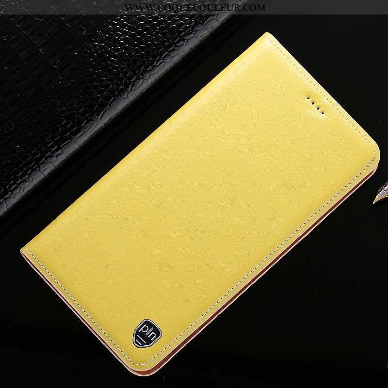 Coque Xiaomi Redmi 6a Cuir Véritable Jaune Petit, Housse Xiaomi Redmi 6a Cuir Étui